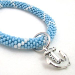 Jewelry - Glass Bead Crochet Roll On Bangle w/ Anchor Charm